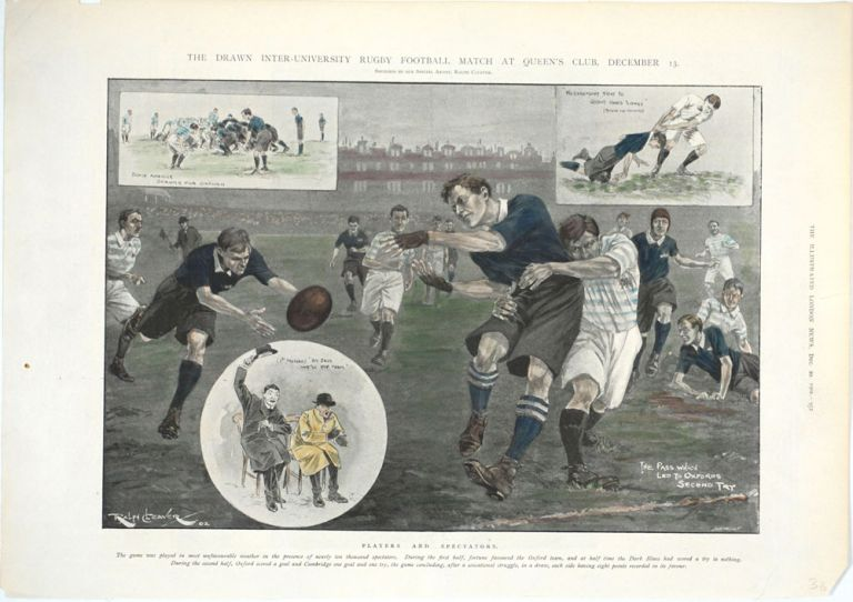 The Drawn Inter-University Rugby Football Match at Queens Club, December 13; Players and Spectators. Rugby, Ralph Cleaver.