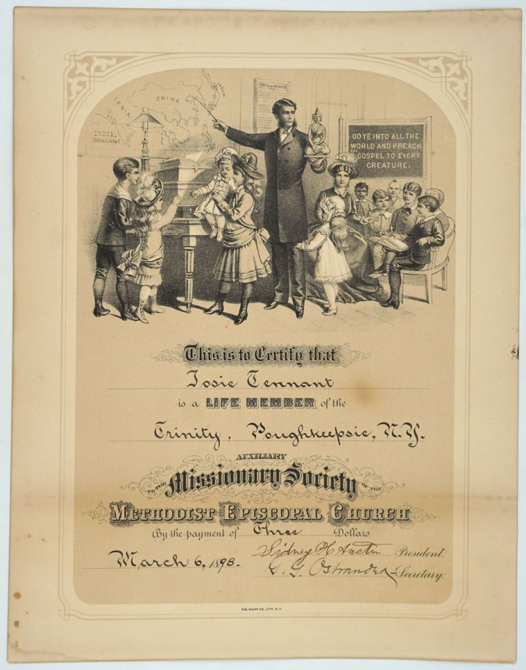 Membership Certificate of the Auxiliary Missionary Society of the Methodist Episcopal Church.