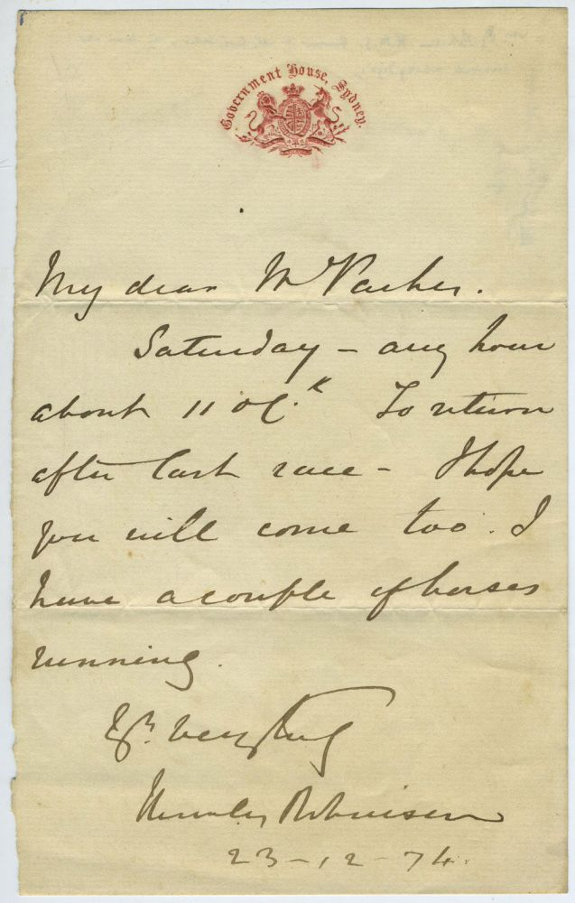 ALS, Governor of New South Wales, on horse racing. Sir Hercules George Robinson.
