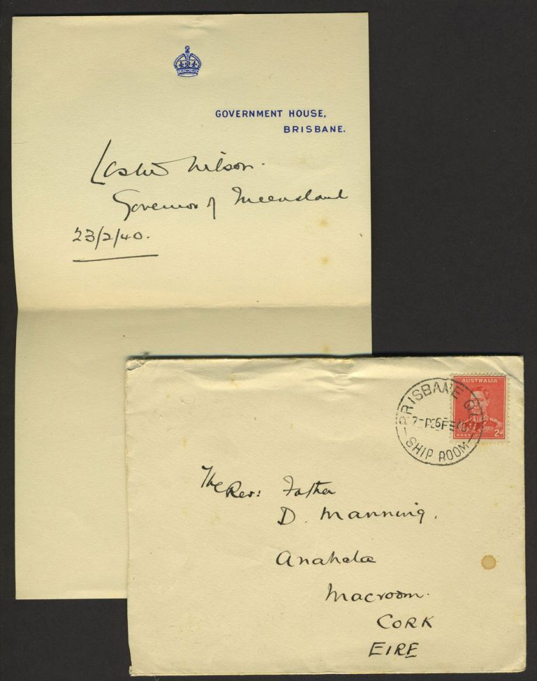 Autograph and cover, Governor of Queensland Australia. Sir Leslie Orme Wilson.