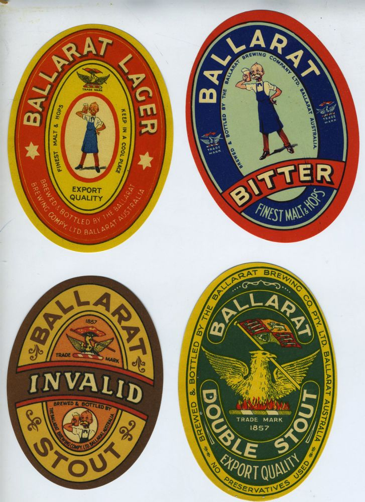 Ballarat Brewing Compy. Ltd. & Ballarat Brewing Co. Pty. Ltd. Four Beer Labels- Double Stout, Lager, Invalid Stout and Bitter. Victoria Ballarat, Beer.