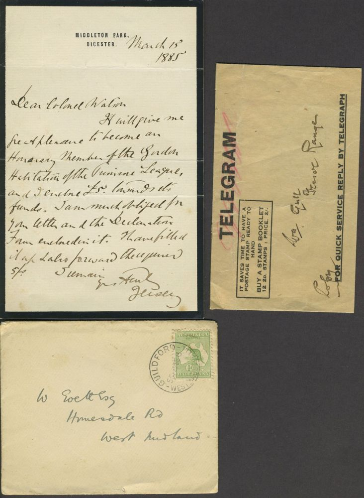 ALS, future Governor General New South Wales, making famine donation. N S. W., 7th Earl of Jersey Victor Child Villiers.