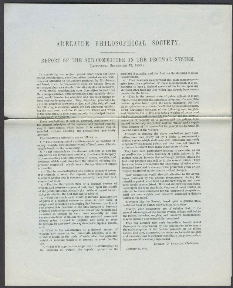 Report of the Sub-committee on the Decimal System (appointed September 13, 1859). Adelaide Philosophical Society.