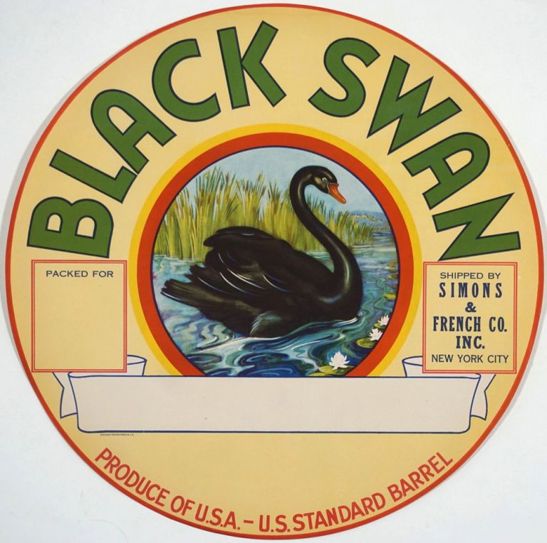'Black Swan. Shipped by Simons & French Co. Inc New York City'. Color barrel label.