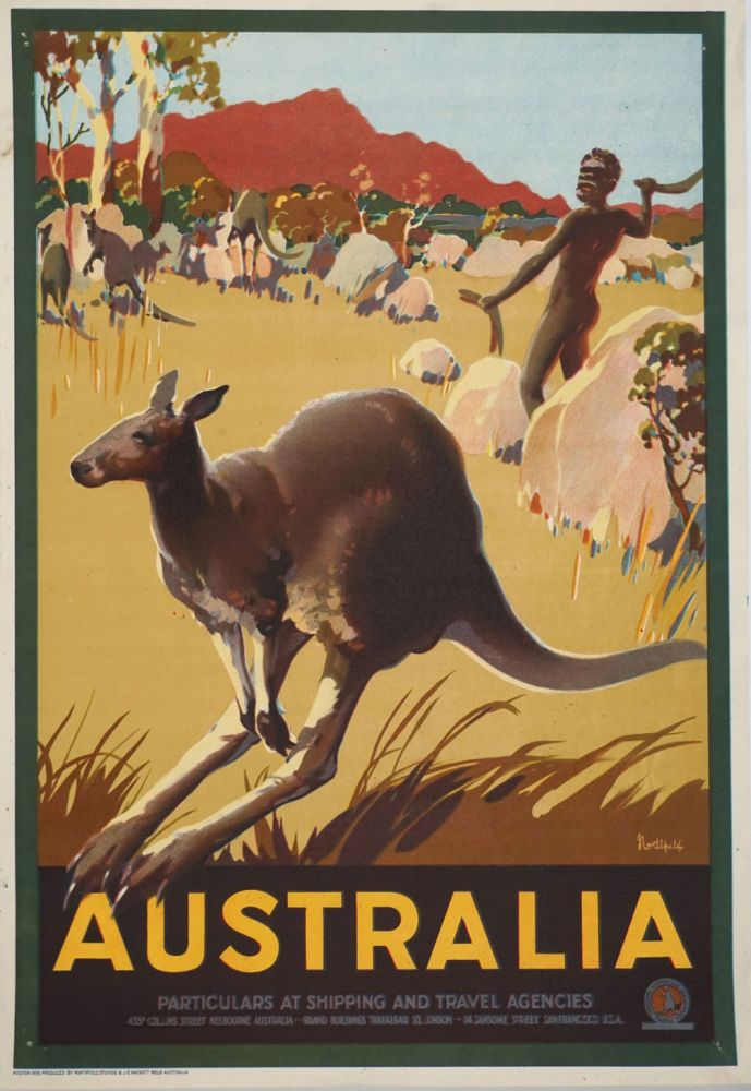 'Australia. Particulars at shipping and travel agencies'. Aborigine and Kangaroo illustrated color travel poster. Poster, Australia.