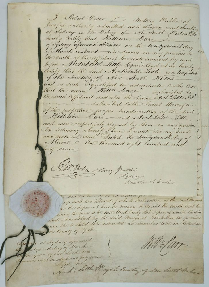 Early Scottish settlers in N.S.W.: land transfer of Duncan & Margaret MacKellar to Charles McLachlan. Legal documents. New South Wales, Scotland, Duncan MacKellar, Margaret, Charles McLachlan.
