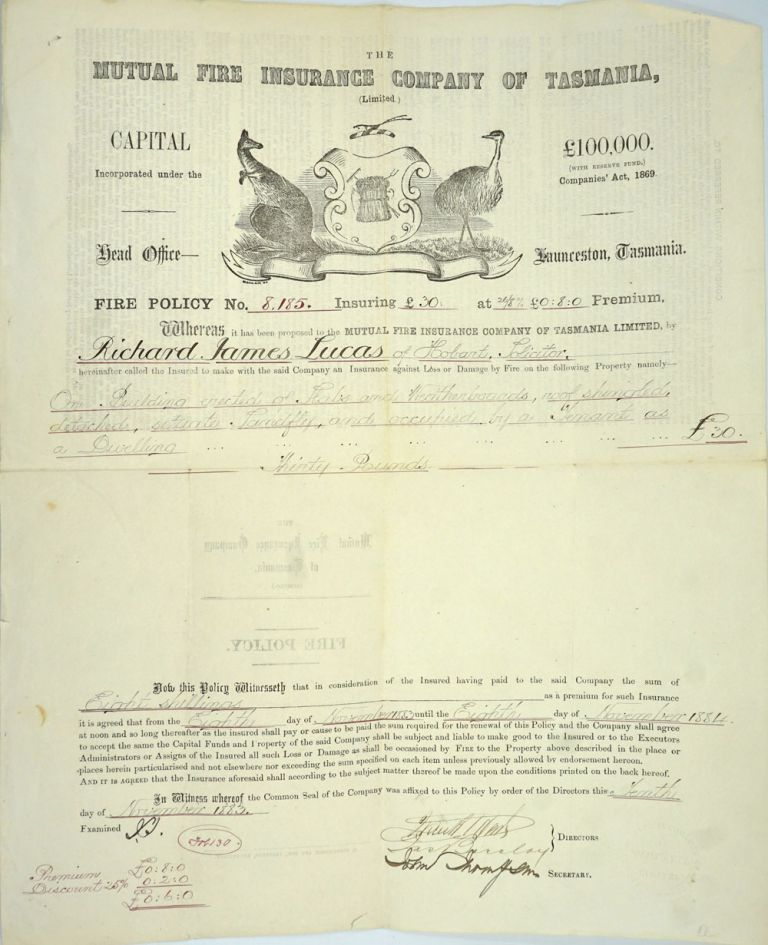 Mutual Fire Insurance Co. of Tasmania. Fire policy made out to Richard James Lucas of Hobart. Tasmania, Richard James Lucas.