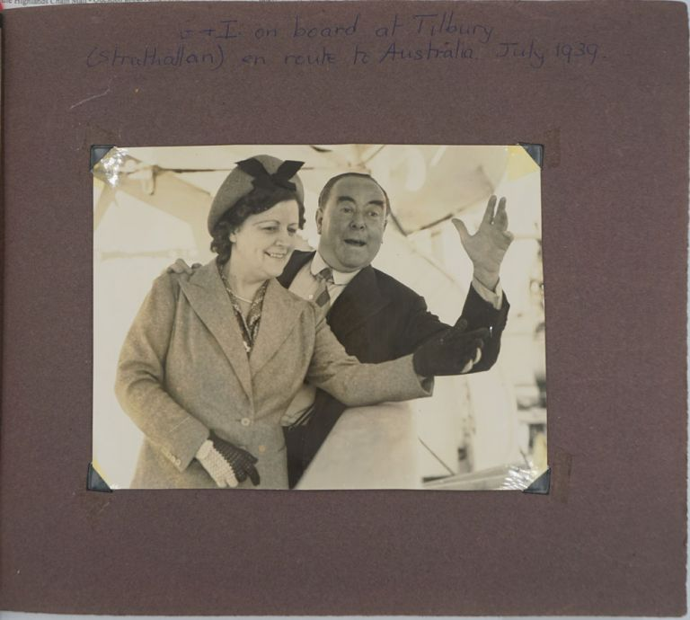 Australian tour 1939. Personal photograph album including itinerary and tickets, Qantas & Imperial Airways. QANTAS, George Robey, Blanche, aka Sir George Edward Wade.