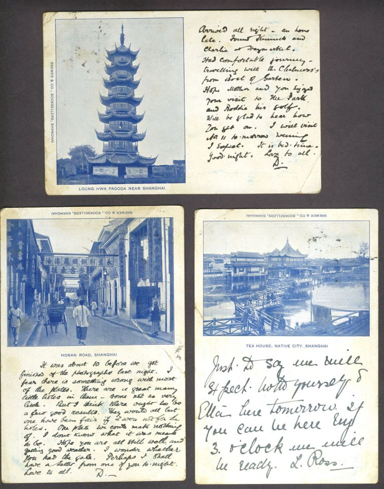 Shanghai, 3 postcards sent by a photographer in Shanghai to his family in Scotland. China, Photography.