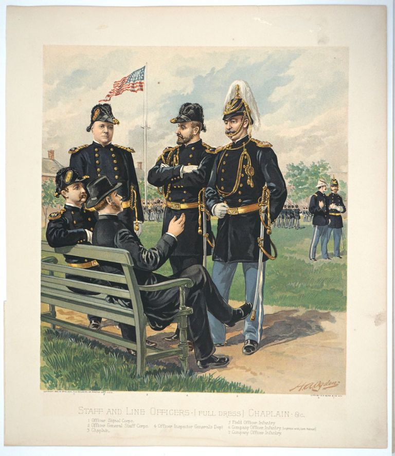 Staff and Line Officers [Full Dress] Chaplain & c. Chromolithograph. US Military, H. A. Ogden, General Samuel B. Holabird.