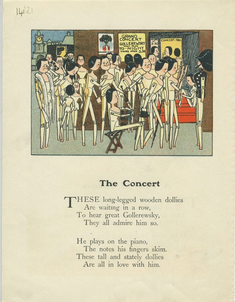 The Concert [Clothes pin dollies at a Golliwog concert]. Childrens.