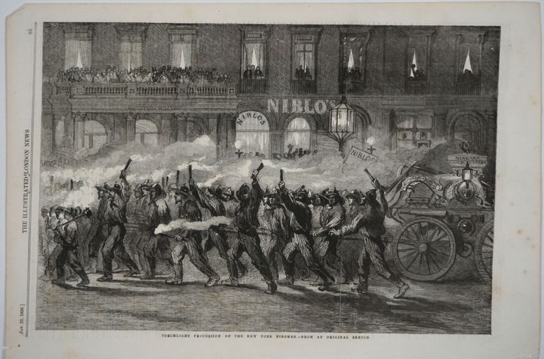 Torchlight Procession of the New York Firemen. Wood engraving. New York City firemen.