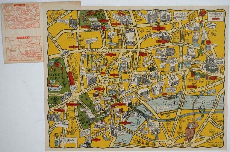 The New Pictorial Map of London. An Ideal Guide & Souvenir for visitors. Chief Places of Interest Pictorially Presented. Maps, London.
