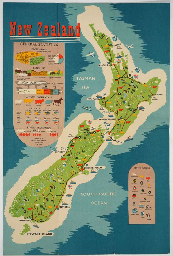 New Zealand, General Statistics. Folding Brochure with color map one side. R. E. Owen.