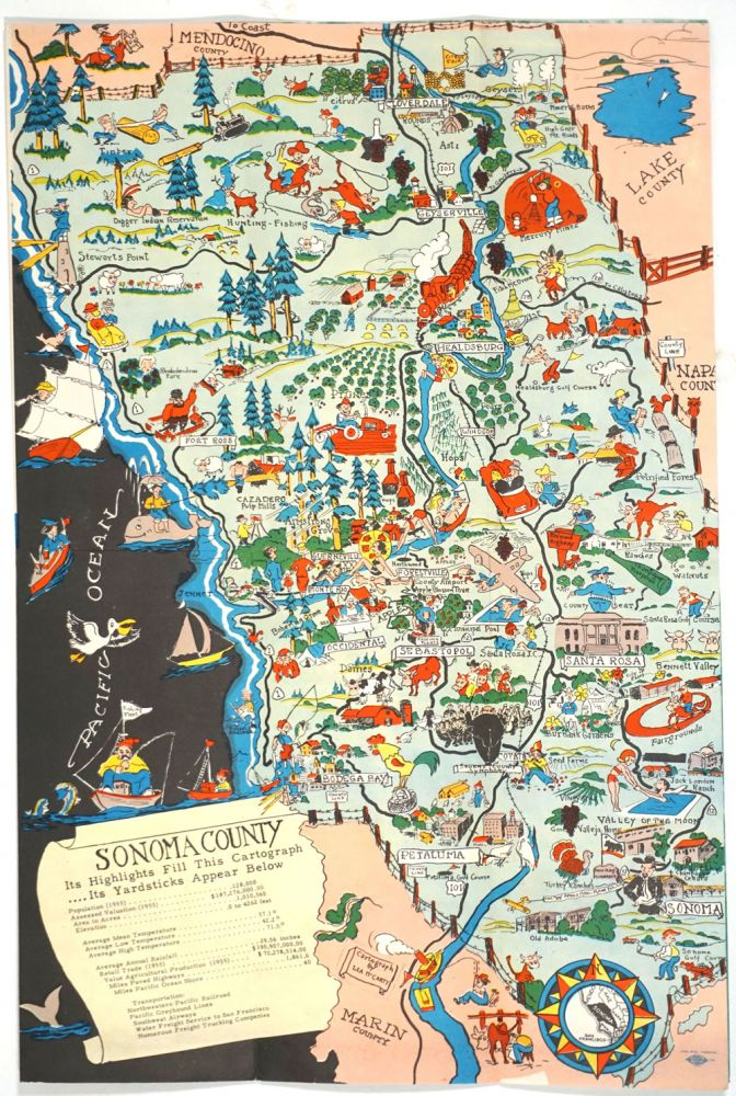 """Pictorial map of Sonoma County. """"Historic Sonoma County"""", Folding Brochure with color map one panel. California, Map."""
