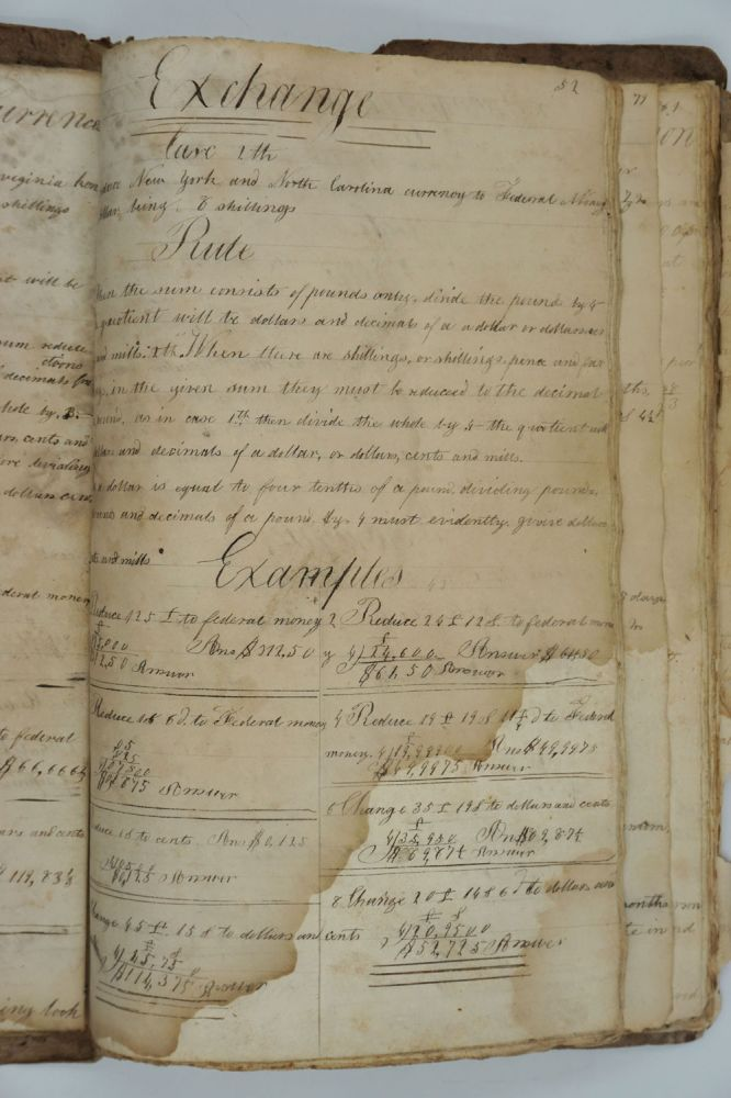 "School copybook, includes exchange calculations for converting ""New England currency"" to federal money. Alexander Wood."