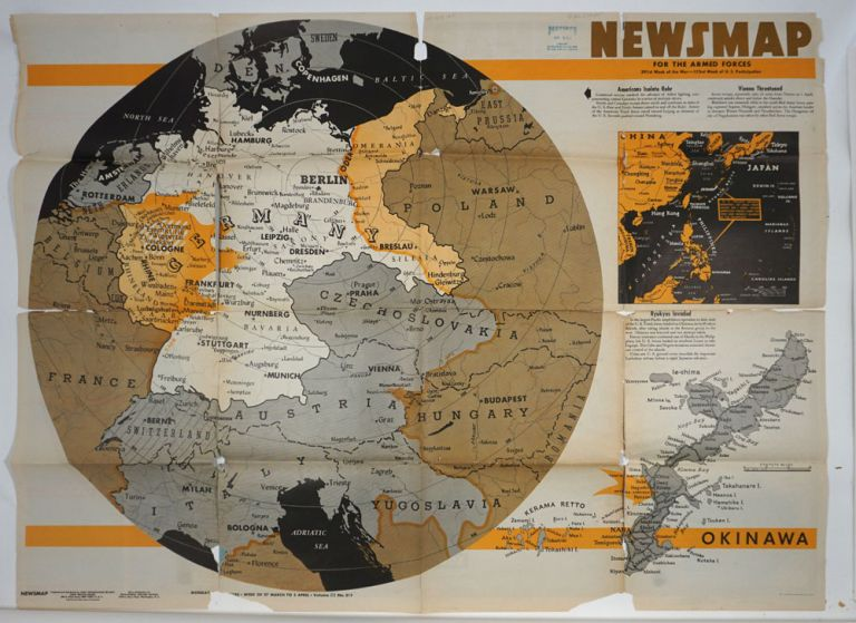 WWII Newsmap for the Armed Forces. China Southeast Coast. WWII, Map.