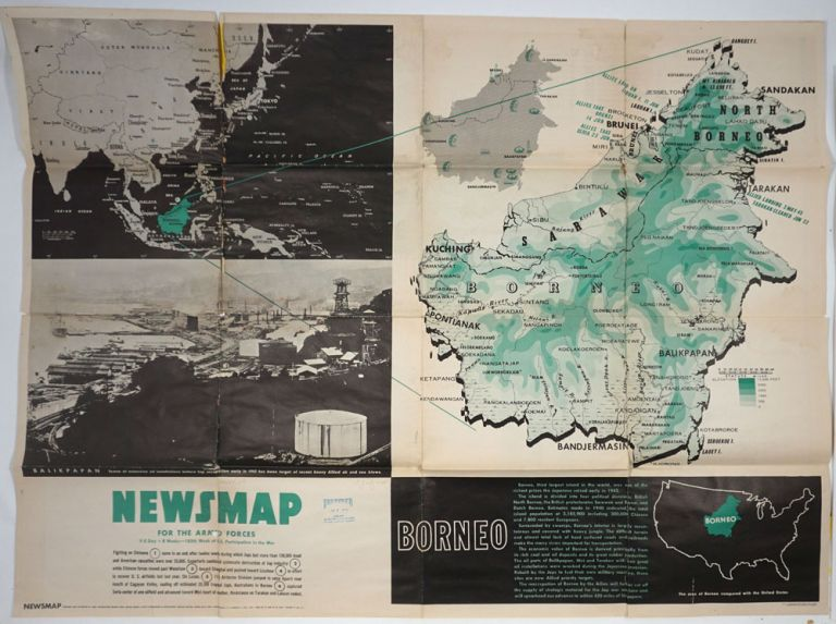 WWII Newsmap for the Armed Forces. Borneo. VE Day + 8 Weeks.