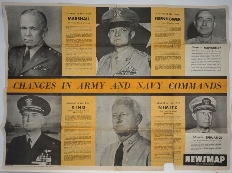 WWII Newsmap for the Armed Forces. Changes in Army and Navy Commands. WWII, Map.