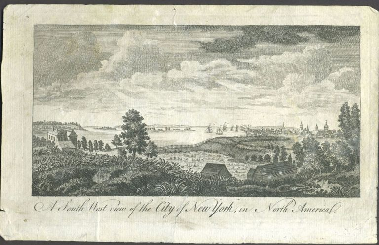 A South West View of the City of New York, in North America. Copper engraving. New York Ciry, Print.