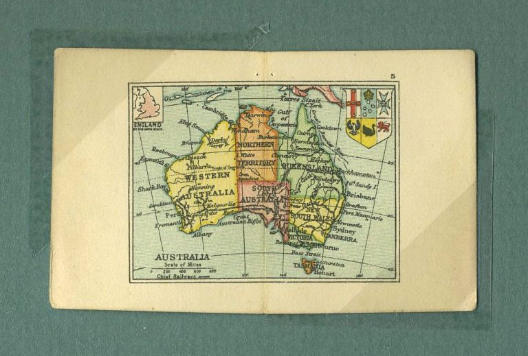 Australia Map from the Smallest Atlas ever Published. Edward Stanford.