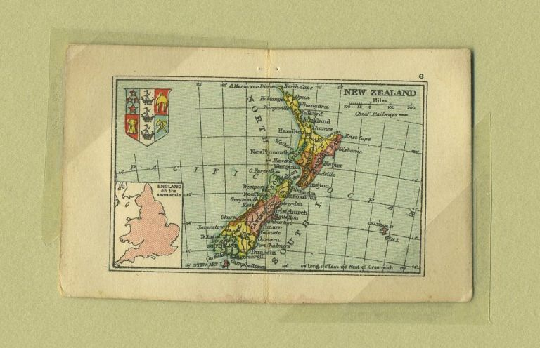 New Zealand Map from the Smallest Atlas ever Published. Edward Stanford.