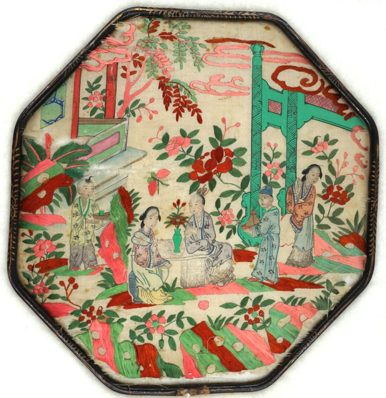 Antique 19th century Chinese embroidered silk fan with Tea drinking image.