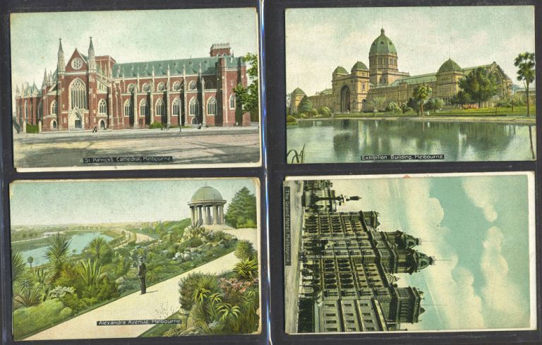 Melbourne Town Hall and an image of the Exhibition Building, postcard celebrating Great White Fleet. 7 postcards. W. T. Pater.