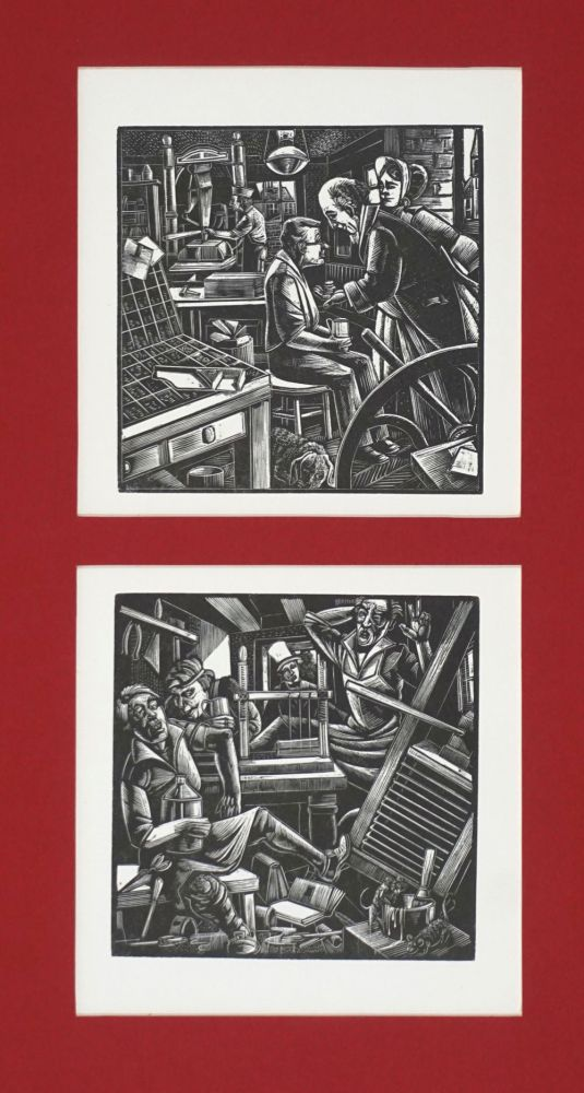 Tipping the good printer [with] drunken printer. Woodblocks. Michael McCurdy.
