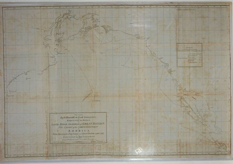 Chart of the Northwest Coast of America with the tracks of the King George and Queen Charlotte in 1786 & 1787. Large folding original map. George Dixon.