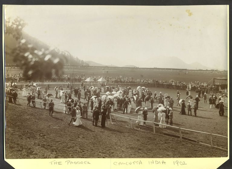 The Paddock at the Race track, Calcutta India. Silver tone photograph.