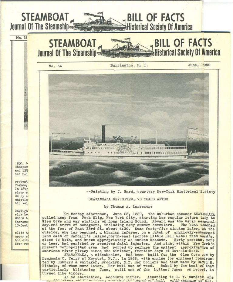 Journal of the Steamboat Historical Society of America. 2 issues, June & Sept. 1950.