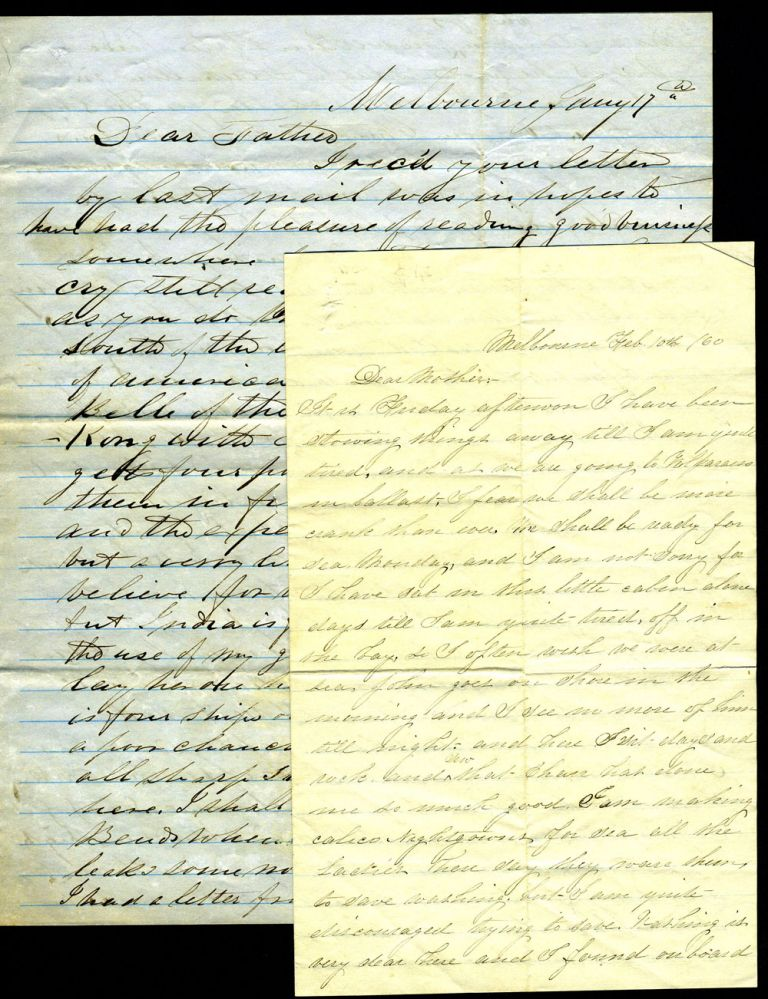 American ship captain & sister in Melbourne in early 1860. Two Letters.
