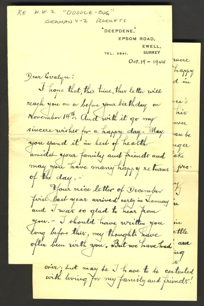 """Living & surviving in """"Bomb Alley"""", England. WWII Letter. Charles Collett, Ida Collett."""