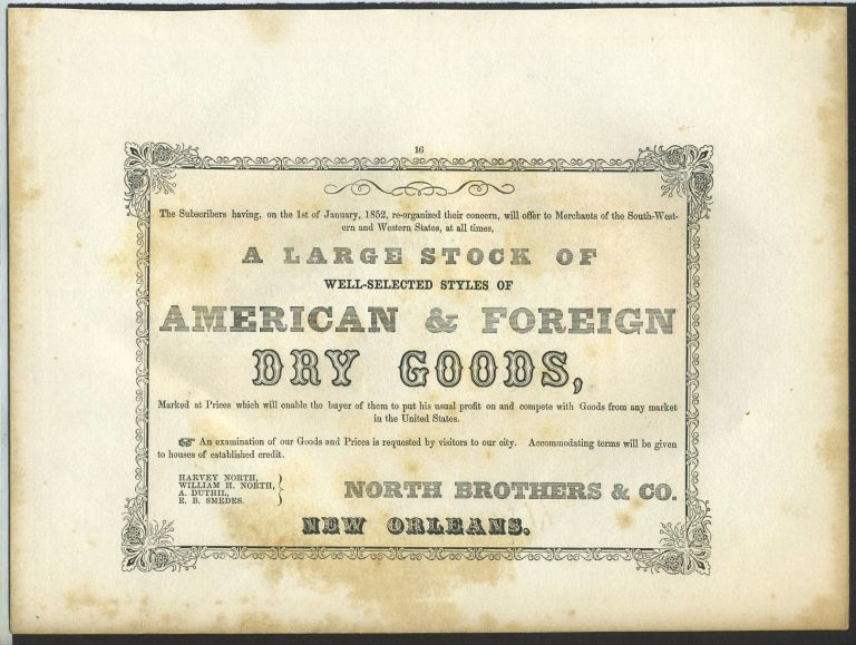 American & Foreign Dry Goods, North Bros., New Orleans. Trade handbill.