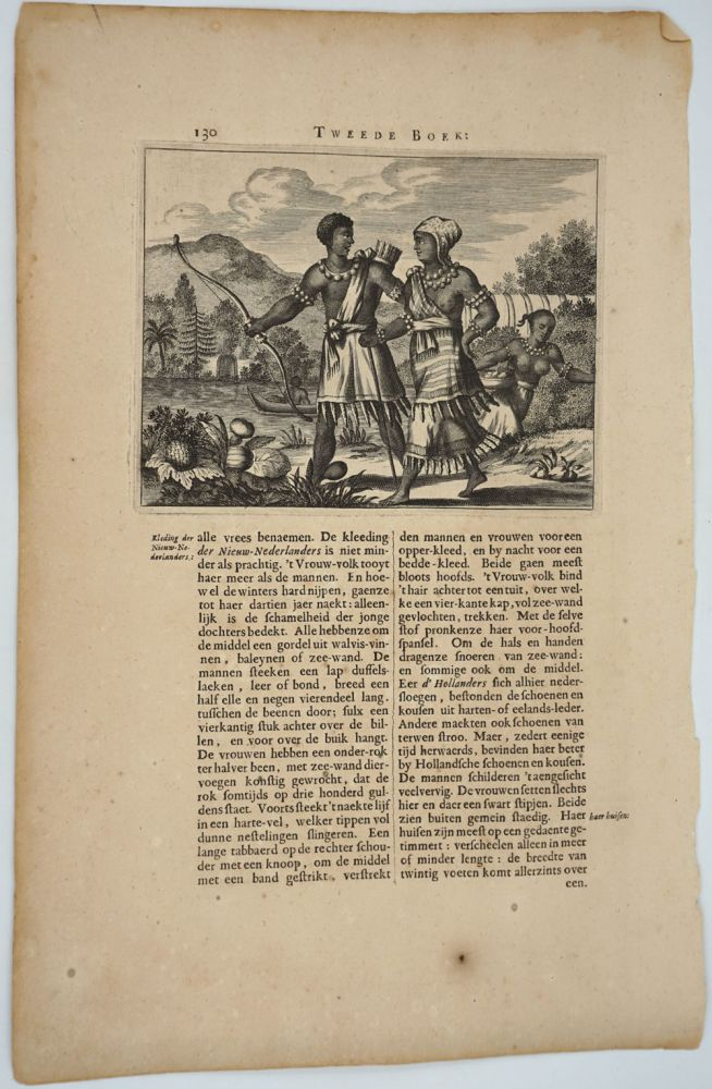 Native American Indians of the Hudson River, New Amsterdam. Engraving. Arnoldus Montanus.