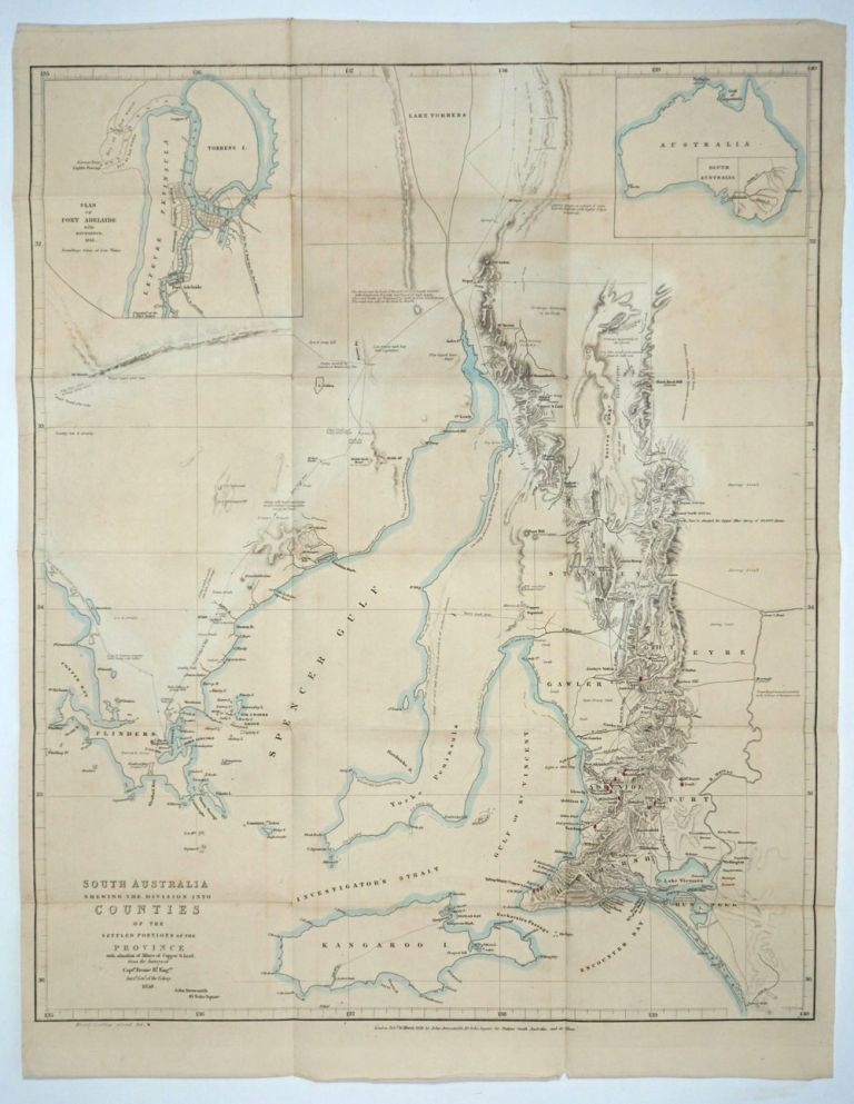 South Australia Shewing the Division into Counties of the Settled Portions of the Province With situation of Mines of Copper & Lead from the Surveys of Captn Frome R.l Eng.rs [Map ]. John Arrowsmith.