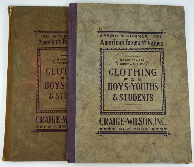 Clothing for Boys / Youths & Students, with fabric swatches. Trade cataloge, Inc Craige-Wilson.