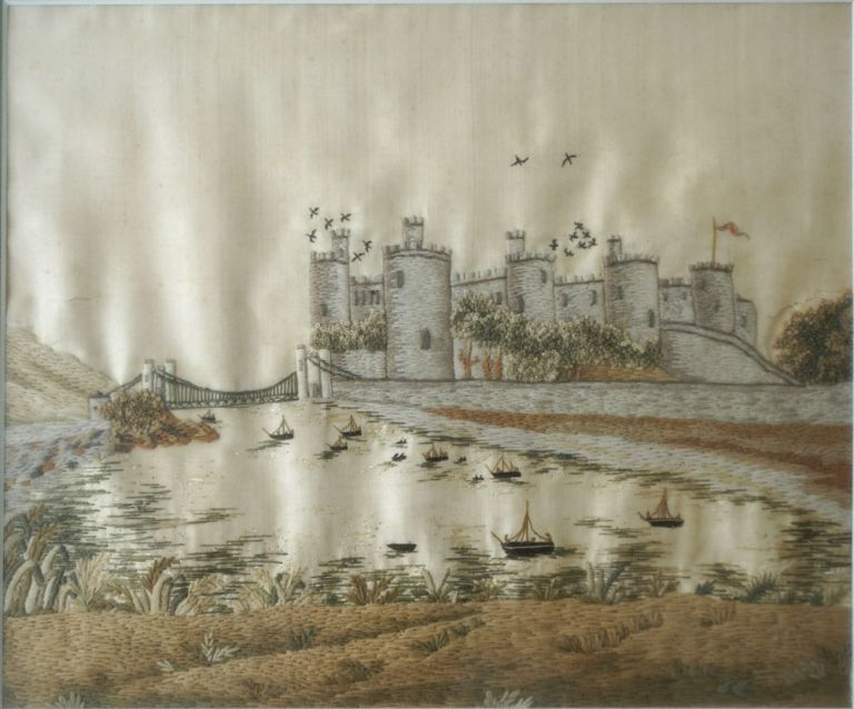 Crewel and Silk Embroidered Landscape; Conway Castle, North Wales with the Suspension Bridge. Women, Embroidery, Connecticut River Valley.