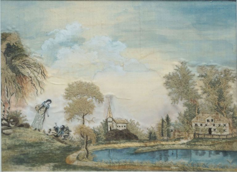 Silk & Watercolor Embroidered Landscape; A Woman and Child Playing by the Pastor's Pond. Women, Embroidery, Connecticut River Valley.