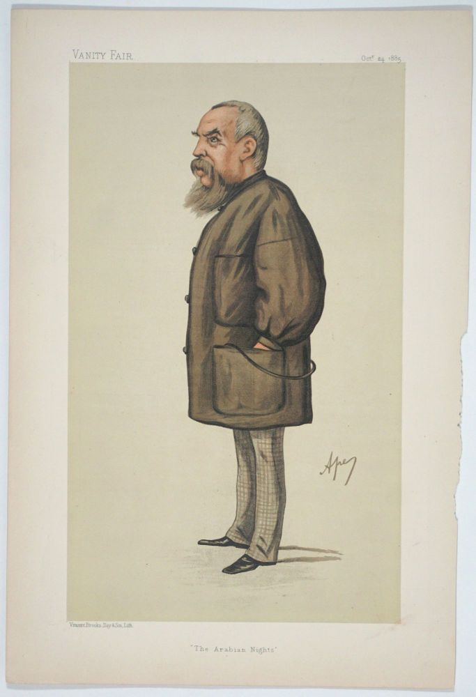 """The Arabian Nights"""". Men of the Day, No. 343. Portrait with accompanying text. Richard Francis Burton, Captain, Vanity Fair."""