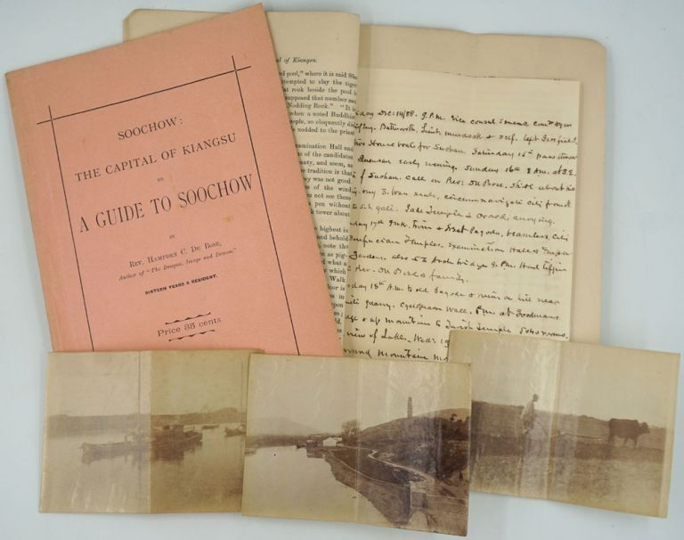 Soochow: The Capital of Kiangsu or A Guide to Soochow - 2 copies, manuscript notes and addenda bound into one with four vernacular photographs. Rev. Hampden C. Brush Du Bose, M. D., George R.