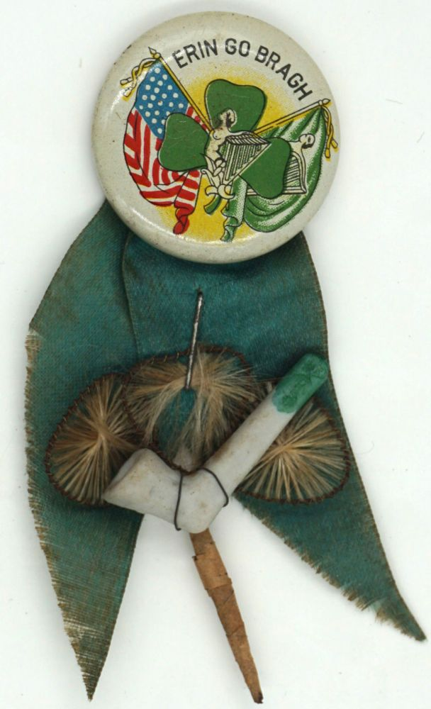 Erin Go Bragh pin with pipe and hand-made three leaf clover. Ireland, St. Patrick's Day.