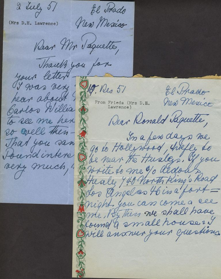 Two signed letters from El Prado New Mexico 2nd July 10th Dec. to Ronald Paquette and photo. Freida Lawrence, D. H. Lawrence.
