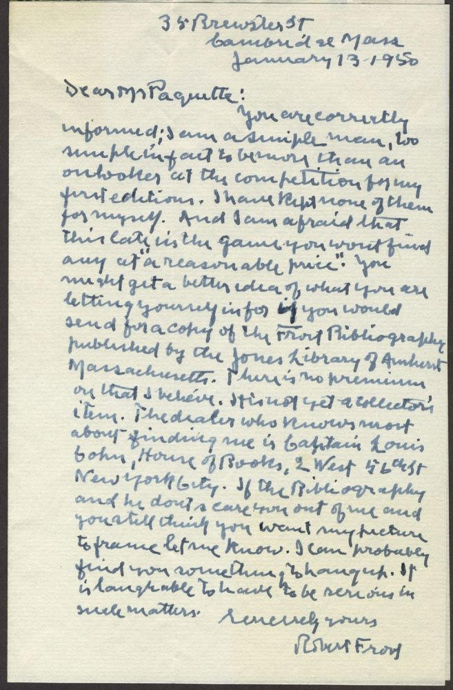 Robert Frost writing to Mr. Paquette, Autograph Letter Signed with photograph of Frost. Robert Frost.