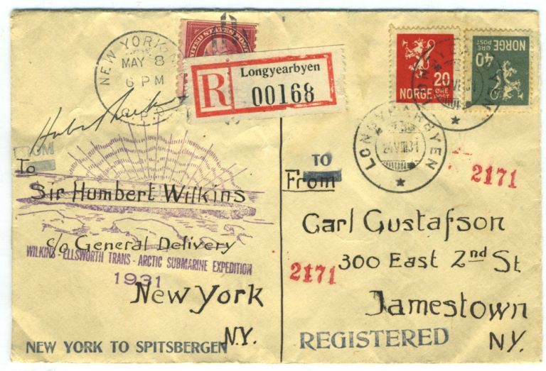 Signed souvenir envelope from the Wilkins- Ellsworth Trans- Arctic Submarine Expedition. George Hubert Wilkins.
