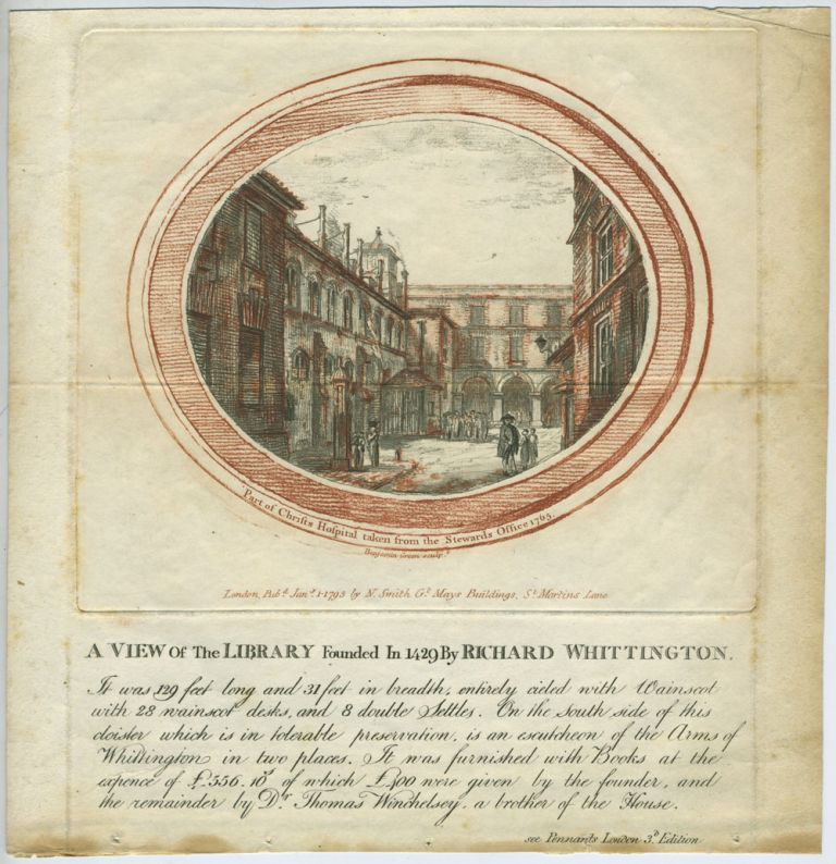 Part of Christs Hospital taken from the Stewards Office 1765. Thomas Smith.