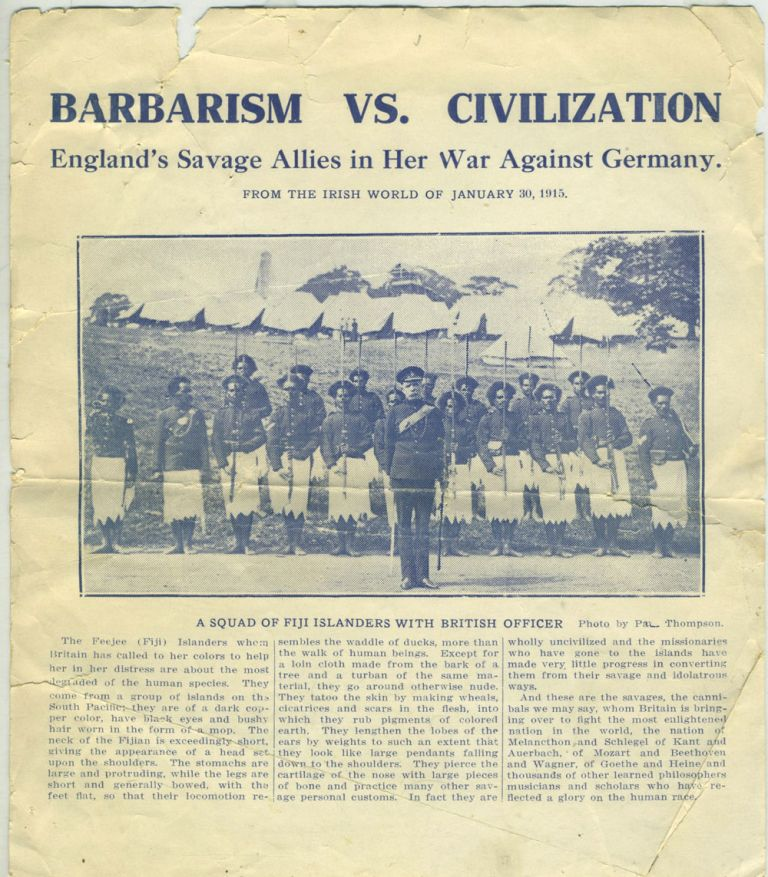Barbarism Vs. Civilization. England's Savage Allies in Her War Against Germany. From the Irish World of January 30, 1915. Racism, Fiji, WWI, Ireland.