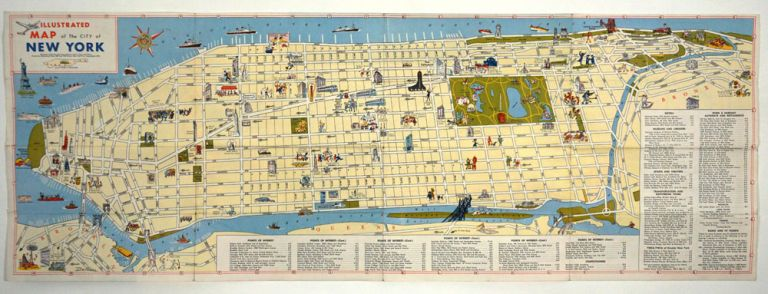 Illustrated Map of the City of New York. Moss and Shor Barry.