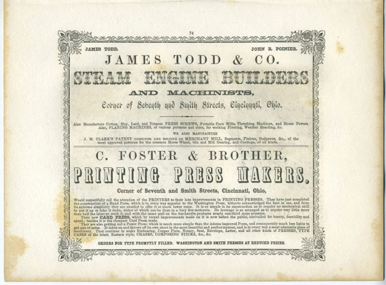 American Commercial Advertising - Steam Engine Builders and Printing Press Makers.